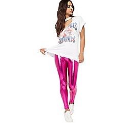 Miss Selfridge - Pink metallic leggings