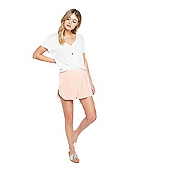 Miss Selfridge - Peach velet run shorts