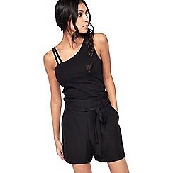 Miss Selfridge - Black paper bag shorts