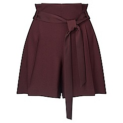 Miss Selfridge - Purple wine paper bag shorts