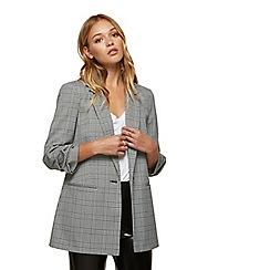 Miss Selfridge - Ruched sleeve blazer check