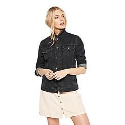 Miss Selfridge - Black studded denim jacket