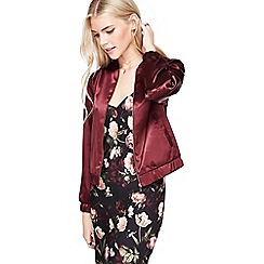Miss Selfridge - Oxblood satin bomber jacket
