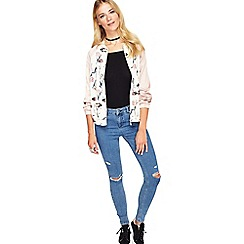 Miss Selfridge - Nude floral bomber jacket