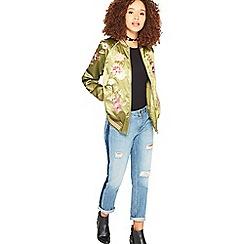 Miss Selfridge - Green floral bomber jacket