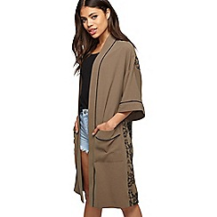 Miss Selfridge - Khaki embroidered back kimono