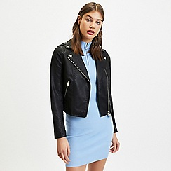 Miss Selfridge - Black debbie pu biker jacket