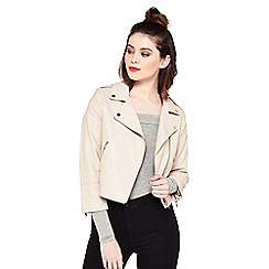 Miss Selfridge - Mink cropped polyurethane biker jacket