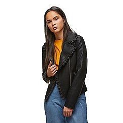 Miss Selfridge - Ruffle polyurethane biker jacket