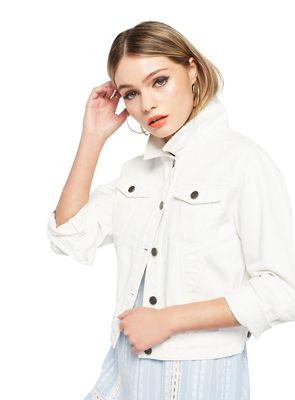 Miss Selfridge White plain denim trucker jacket