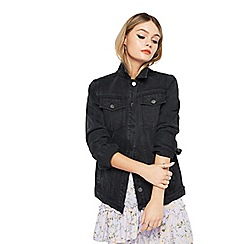 Miss Selfridge - Long line denim jacket black