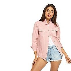 Miss Selfridge - Oversized denim jacket pink