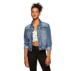 Miss Selfridge - Plain denim trucker mid-wash denim jacket