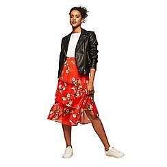 Miss Selfridge - Red floral print midi skirt
