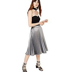 Miss Selfridge - Metallic pleated skirt