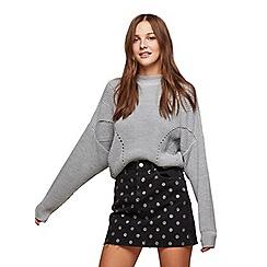 Miss Selfridge - Black spot denim skirt