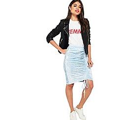 Miss Selfridge - Blue velvet ruch skirt
