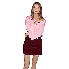 Miss Selfridge - Burgundy cord aline skirt