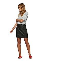Miss Selfridge - Black polyurethane corset detail skirt
