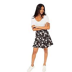 Miss Selfridge - Black floral skater skirt