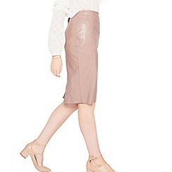 Miss Selfridge - Pink pu pencil skirt