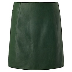 Miss Selfridge - Green pu a-line skirt