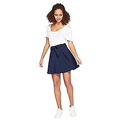 Miss Selfridge - Navy flippy belt skirt