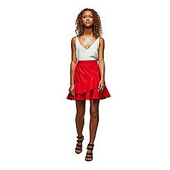 Miss Selfridge - Red poplin ruffle mini skirt