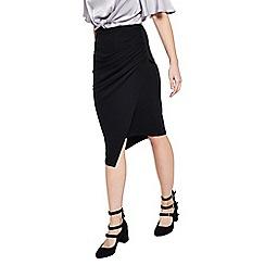 Miss Selfridge - Black rouched drape skirt