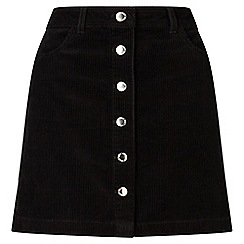 Miss Selfridge - Black cord a-line mini skirt