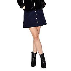 Miss Selfridge - Navy cord aline mini skirt