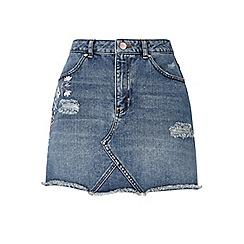 Miss Selfridge - Embroidered denim skirt