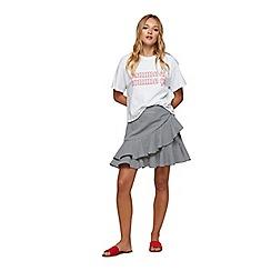 Miss Selfridge - Black gingham ruffle mini skirt