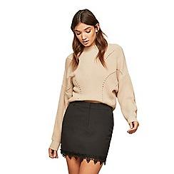 Miss Selfridge - Black lace hem mini skirt