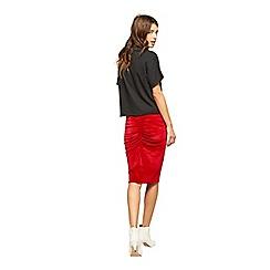 Miss Selfridge - Red velvet ruch back skirt