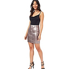Miss Selfridge - Metallic denim mini skirt