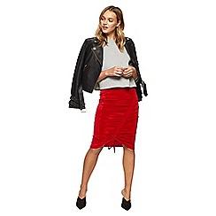 Miss Selfridge - Red velvet ruch front pencil skirt