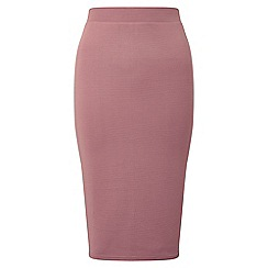 Miss Selfridge - Pink ribbed pencil skirt