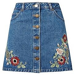 Miss Selfridge - Floral embroidered denim skirt