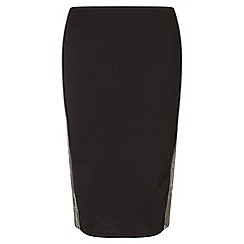 Miss Selfridge - Black skirt with silver mesh