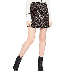 Miss Selfridge - Brushed animal print skirt