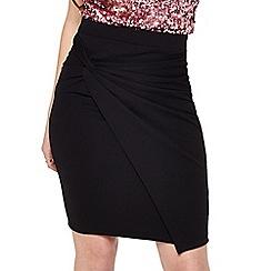 Miss Selfridge - Black knot front skirt