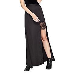 Miss Selfridge - Black satin lace maxi skirt