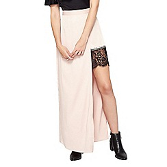 Miss Selfridge - Pink satin lace maxi skirt