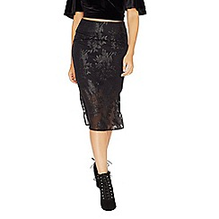 Miss Selfridge - Black floral burnout skirt