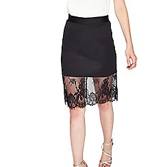 Miss Selfridge - Black lace hemi skirt