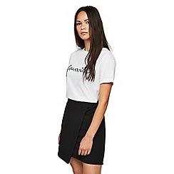 Miss Selfridge - Black jacquard wrap skirt