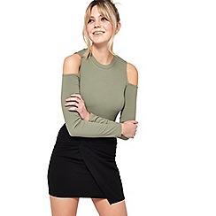 Miss Selfridge - Black knot front mini skirt