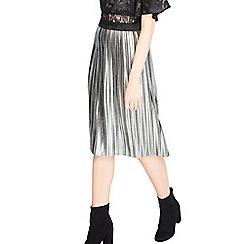 Miss Selfridge - Silver foil pleated skirt