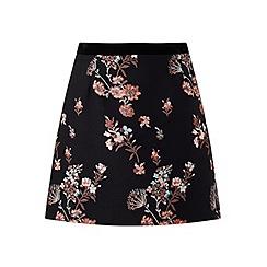 Miss Selfridge - Black floral jacquard skirt